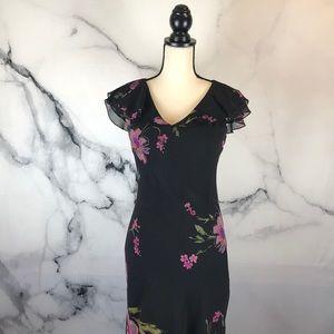 JONES NEW YORK 100% silk floral print midi dress